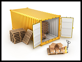 Container-thumb open container pallets with boxes and hand truck isolated on whi